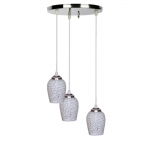 LED Compatible Pendant Ceiling Lamp Hanging Light of 3 Decorative Lamp Shade in One Round Fitting by Somil