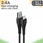 pTron Solero M241 2.4A Micro USB Data & Charging Cable, Made in India, 480Mbps Data Sync, Durable 1-Meter Long USB Cable for Micro USB Devices – (Black)