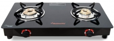 Butterfly Smart Glass Top 2 Burner Open Gas Stove (Black)
