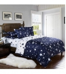 ENGUNIAS® King Collection Beautiful 3D Polycotton 154TC Double Bed Sized (90 X 90) Bedsheet with 2 Free Maching Pillow Covers Color- Black Star Design