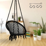 Curio Centre Make in India Round Cotton Rope Hanging Swing for Adults & Kids with Accessories/Swing Chair for Indoor,Outdoor,Home,Patio,Yard, Balcony,Garden (145 x 57 x 43 cm,100 kgs Capacity, Black)