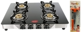 Pigeon by Stovekraft Blaze Blackline Glass 4 Burner Gas Cooktop (Black) & Gas Lighter Smart with Stand and Free 1 Knife Combo