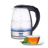 KENT Elegant Electric Glass Kettle (16052), 1.8L, Stainless Steel Heating Plate, Borosilicate Glass Body, Boil Drying Protection