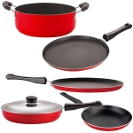 Nirlon 5 Piece 3 Layer Non-Stick Coated Chemical Free Healthy Kitchen Cooking Essential Gift Item Set