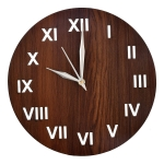 Heart Home Roman Number Round Shaped Wooden 10″ Wall Clock (Brown), Standard (HS39HEARTH022871)